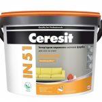 Краска CERESIT IN 51 BASIC Интерьерная акриловая матовая краска описание