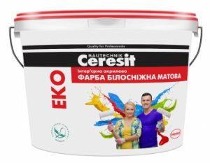 Краска Ceresit EKO Интерьерная акриловая краска БЕЛОСНЕЖНАЯ МАТОВАЯ